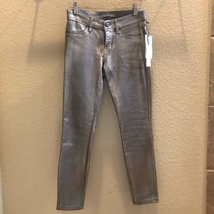Rich & Skinny wax coated silver skinny jeans 25